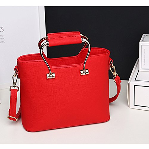 BYD - Pell Donna Handbag borsa a Spalla Borse a mano Tote Bag Shoulder Bag con maniglia in metallo Red 2