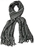 styleBREAKER Feinstrick Herrenschal im Streifen Look / Strickschal mit Fransen 01018117- Gr.One Size, Schwarz-Weiß-Grau (V7)