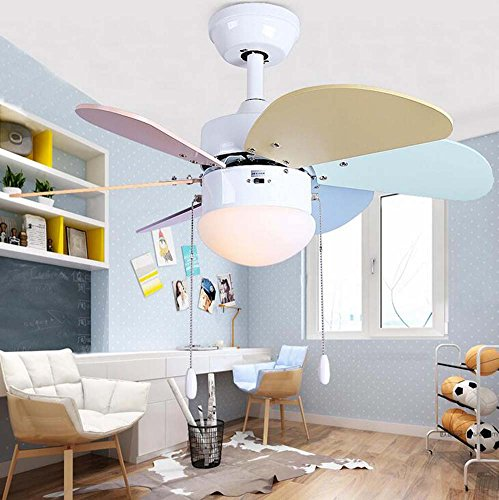 30 Fan-licht-kit (Kinder Stille Deckenventilator Licht Led Blatt Lampe Fan 76cm / 30