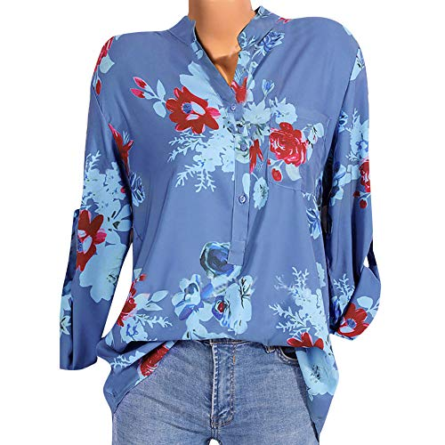 Damen Pullover Oberteile Langarm MYMYG Frau Lässige Floral Bedruckte Taste T-Shirt Tasche unregelmäßiger Saum Shirt Top Bluse(Blau,EU:38/CN-L) -