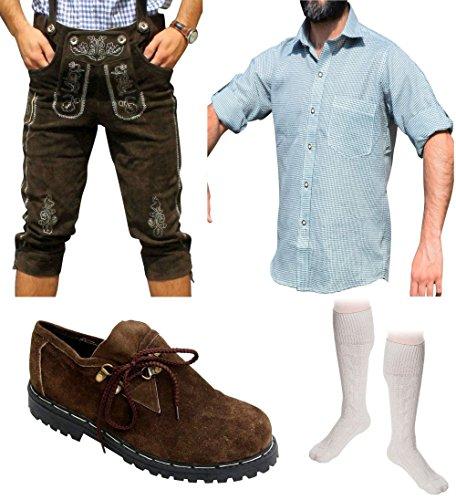 Herren Trachten Set E 5-teilig Trachten Lederhose Dunkelbraun 46-60 Trachtenhemd Schuhe Socken (Wählbar Hose 46-60 Hemd S-XXXL Schuhe/Socken 41-46)