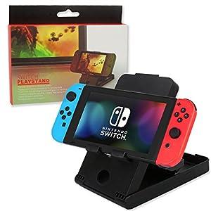 Runfon Halterung für Nintendo Switch Stand 800Spiel Compact verstellbar Ertragen mit Winkel Tischböcke Reise Faltbar und Fuß caoutchouteaux-Spiel für Nintendo Switch