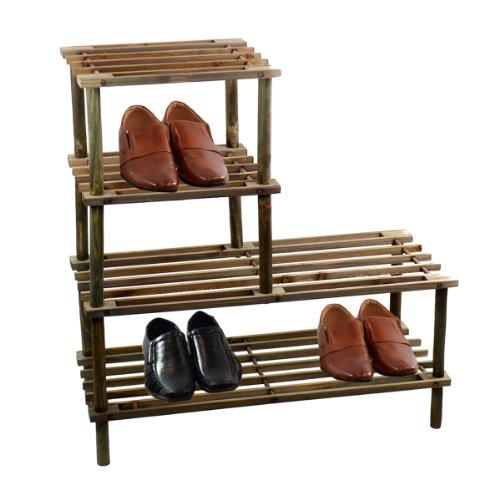 NEU 4Etagen Holz Schuhe Rack Stauraum Stiefel Organizer Regal Ständer Organizer Shopmonk braun