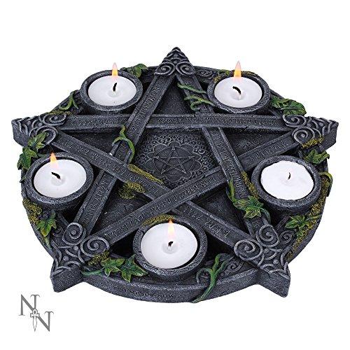 Nemesis Now-Grigio Wicca Pentagram-Portacandela 25,5cm