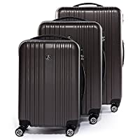 FERG?? trolley set TOULOUSE - 3 suitcases hard-top cases - three pcs hard-shell luggage with 4 twin-wheels (360) - ABS coffee-matt