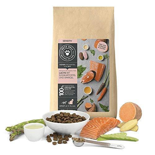 PETS DELI - NATURAL PET FOOD Katzenfutter trocken 400 g | Premium-Qualität | Lachs mit Süßkartoffel und Spargel | Trockenfutter für Katzen mit 60% Fischanteil, getreidefrei und ohne unnötige Zusätze