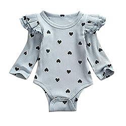 Livoral Baby Neugeborenes Baby Valentinstag Herz-förmig gedruckt gekräuselten Overall(B-Hellblau,6-12 Monate)
