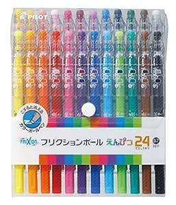 Pilot Frixion crayon, stylo bille 0,7mm, Set de 24 couleurs 24 Count