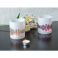 MAILAND Skyline Stadt Windlicht, Tischlicht personalisierbar, 2er Set Lichthülle Teelicht Tischdekoration in greige & pflaume, Geschenkidee Mitbringsel für Mailand-Fans von 44spaces