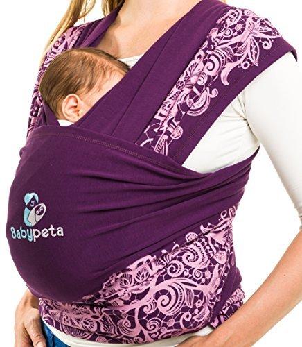 babypeta bebé sling Organic Infant Carrier y recién nacidos wrap-premium algodón/spandex mezcla para acogedor suavidad y confort ajustable-Manos Libres para bebé (para madres