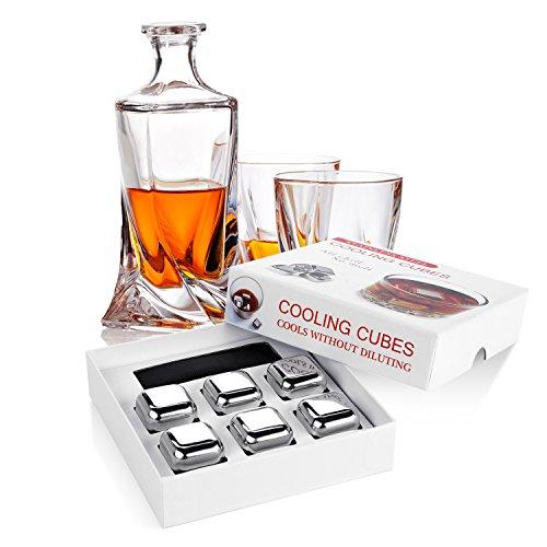 Whisky Steine Vsllcau 6er Set Tiefkühlen Wiederverwendbare Edelstahl Whisky Kühlsteine Premium Eiswürfel mit Stoffbeutel