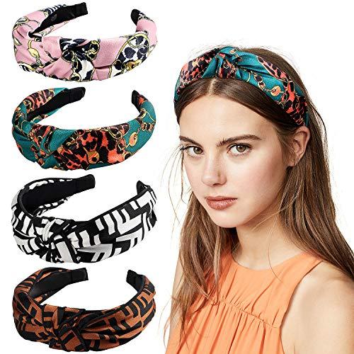eif Vintage Stirnband Damen Haarband Damen Knoten Bandana Kopfband Turban Mädchen Haarreif Damen Stirnbänder Breite Haarschmuck (B) ()