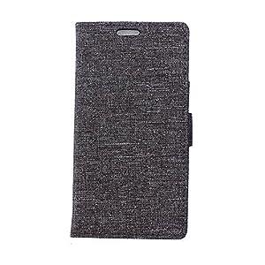 BlackBerry DTEK50 Hülle,BlackBerry DTEK50 Tasche,BlackBerry DTEK50 Schutzhülle,BlackBerry DTEK50 Hülle Case,BlackBerry DTEK50 Leder Cover,Cozy hut [Burlap - Muster-Mappen-Kasten] echten Premium Leinwand Flip Folio Denim Abdeckungs-Fall, Slim Case mit Stän
