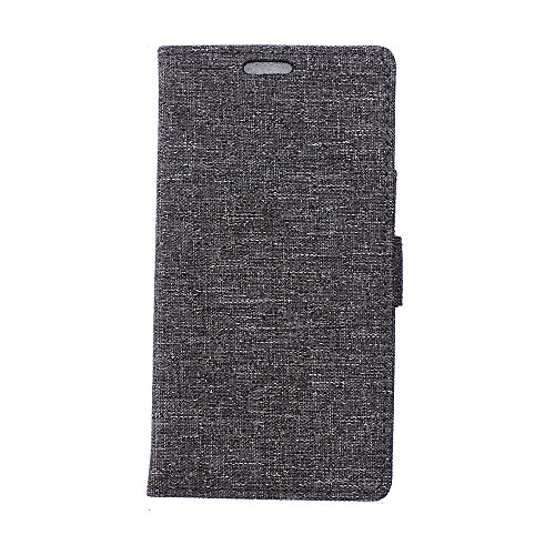 LG X Power Hülle,LG X Power Tasche,LG X Power Schutzhülle,LG X Power Hülle Case,LG X Power Leder Cover,Cozy hut [Burlap - Muster-Mappen-Kasten] echten Premium Leinwand Flip Folio Denim Abdeckungs-Fall, Slim Case mit Ständer Funktion und Identifikation-Kreditkarte Slots für LG X Power (5,3 Zoll) - grau