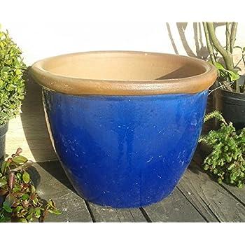 Blumentopf 34 cm Durchmessser, blau glasierte Keramik
