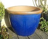 robuster Blumentopf ca. 33 cm Durchmessser, blau glasierte Keramik Steingut Garten Deko Blumenkübel Pflanztopf