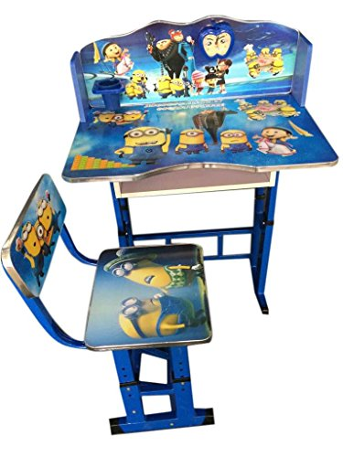 FF Minion's Blue Kids Study Table & Chair Set, Suitable For Kids Between Age 3-10 Years, Imported by FURNITURE FIRST