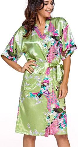 FLYCHEN Donna Accappatoi Vestaglie e Kimono in Raso festa di nozze Camicie da Notte Verde