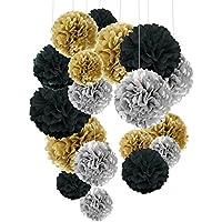 Pompon de papel de seda, bolas de papel en forma de flor para fiestas de cumpleanos, bodas, baby shower, shower de novia o decoracion de festivales, 18 unidades , Negro, oro y plata