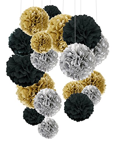 Seidenpapier Pom-Poms 18 Stück - schwarz, gold, silber