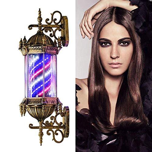 JNFDE Barber Pole al Aire Libre Led Iluminante Rotativo Peluquería Letrero de peluquería Letrero de peluquería Rojo Blanco Azul Rayas - Exterior Retro Estilo Impermeable Ahorro de energía Montabl.