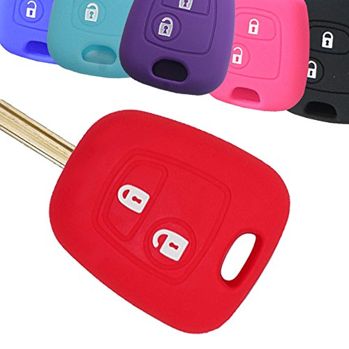 Jacke Key (Muchkey Autoschlüssel Abdeckung Silikon Key Shell Key Case Haut Jacke Fit Für 2 Knöpfen Fernschlüssel Mit Roten Silikon Schutzhülle)