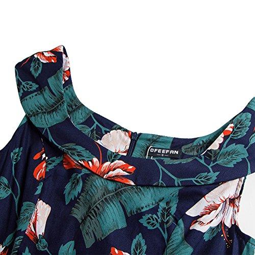 ESHOO Femmes Robe de Rétro Vintage Impression Années 1950 à Encolure Off épaules Robe de Cocktail Style 6