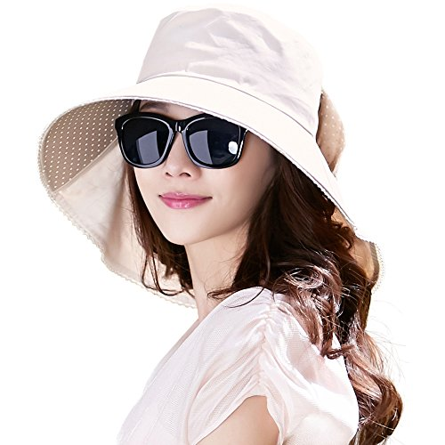 SIGGI 100% Baumwolle beiger Sommerhut mit Nackenschnur für Damen UPF 50 + Sun Shade Hut -