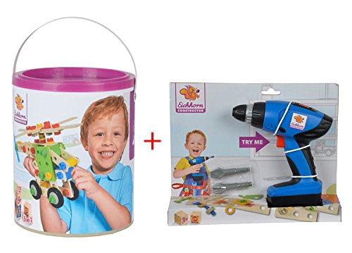 Bundle Eichhorn/Heros Hubschrauber Holz Konstruktions Set inkl. Spielzeug Bohrer