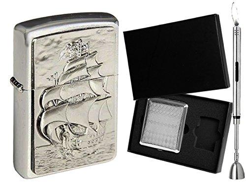 Zippo Feuerzeug Pirate's Ship & Geschenkset Wählbar + R-S Stabfeuerzeug Chrome (Zigarettenetui Geschenkset)