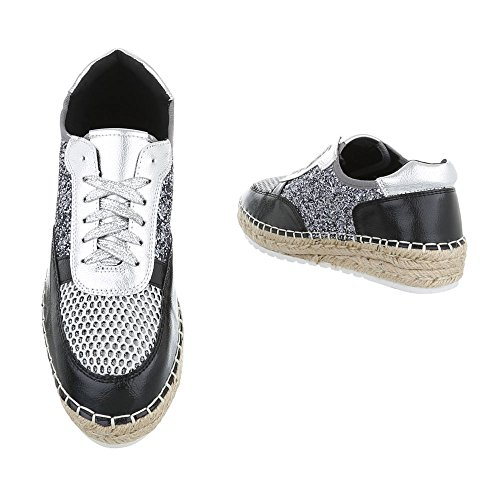 Low-Top Sneaker Damenschuhe Low-Top Sneakers Schnürsenkel Ital-Design Freizeitschuhe Schwarz Silber