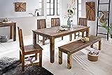 FineBuy Esszimmertisch DELHI 180 x 90 x 76 cm Mango Shabby Chic Massiv-Holz | Design Landhaus Esstisch Bootsholz | Tisch für Esszimmer rechteckig | 6-8 Personen