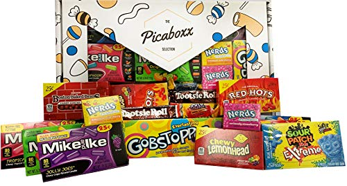 Picaboxx American Candy Selection Gift Box - 14 Products Value Pack | American Candy Hamper | Sweet Gift Box with Display Window (Lemonhead Candy)