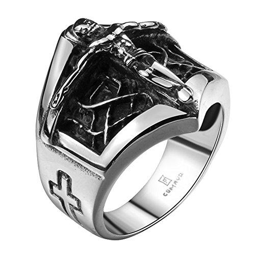 iLove EU Edelstahl Ring Bandring Silber Schwarz Jesus Christus Kruzifix Kreuz Seil Schild Retro Herren - Größe 65