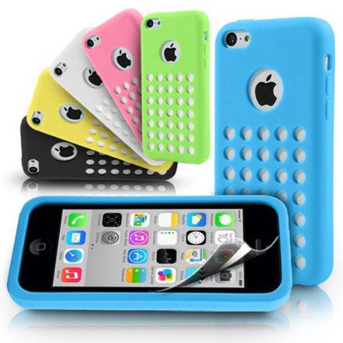 Case Ultra colorŽ mince souple de gel de silicone Dot trou pour l'iPhone 5C bleu
