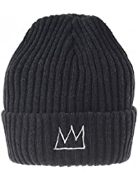 WITHMOONS Gorros de punto Beanie Hat Jean-Michel Basquiat Crown Embroidery Slouchy CR5493