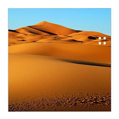 BANJADO Glas Magnettafel beschreibbar 50 x 50 cm groß   Memoboard mit 4 Magneten   Glastafel mit Motiv Wüste   Pinnwand aus Glas magnetisch, Glas Magnettafel