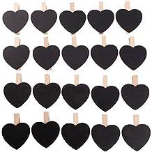 Pack de 20pcs Mini Clip Pinza de Madera Corazón con Tablero de Pizarra de Tiza para Dejar Mensaje Recordatorios Nota