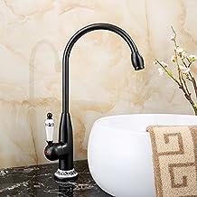 Vinteen Cerámica Grifería de baño con una sola manija Continental Black Vintage Grifo de agua de