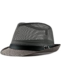 Chytaii Sombrero Melón en Paja Sombrero de Sol Transpirable Sombrero Panamá  Hombre Anti-Soleil UV 8b7b4e64cd5a
