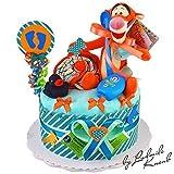 MomsStory - Windeltorte Junge | Tigger Disney | Geschenk zur Geburt, Taufe, Babyshower | 1 Stöckig (Türkis/Orange)