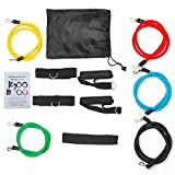 BigFox Exercise Band Kit, Resistance Band Set, Fitness Tubes with Door Anchor, Ankle Straps, Workout Guide, Carrying Pouch for Building Muscle, Fat Loss, Rehabilitative Exercises, Indoor or Outdoor Use