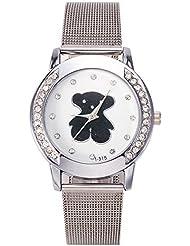 Mujeres Marca Reloj Tous señora de la manera de la trenza de la correa de malla rejilla Relojes de plata barato