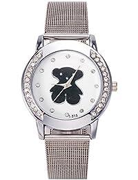 Mujeres Marca Reloj señora de la manera de la trenza de la correa de malla rejilla Relojes de plata barato