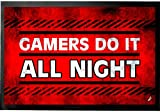 1art1 92644 Gaming - Gamers Do It All Night Fußmatte Türmatte 60 x 40 cm
