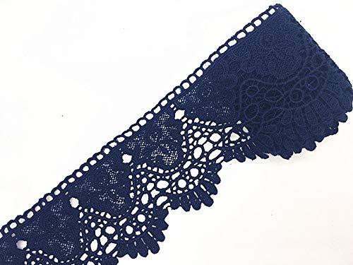 9cm breite Spitze, Muster: europäische Krone, unelastischer Spitzenbesatz, ca. 3,7 m pro Packung marineblau