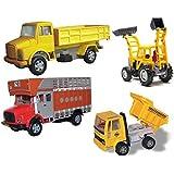 Centy Toys Construction Combo Set Of Telco Truck , Jcb , Public Truck & Dumper By Krasa Toys