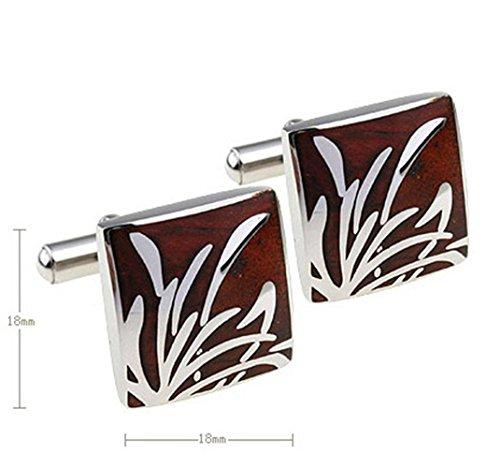 Chnuo 1 Paare von hochwertigem Edelstahl und Mahagoni Bambus Form Klassische Manschettenknöpfe für Ihre Freunde Geschenke