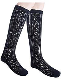 Las niñas de la escuela de la rodilla calcetines altos longitud completa Pointelle algodón rica (36-39, 3 pares negro)