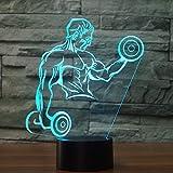 wangZJ3D LED Lampe Nachtlicht/Ballett/Gewichtheben/Schlittschuhe/Tauchen/Surfen/7 wechselnde Farben Touch Nachtlicht/Schlafen Beleuchtung/Kinder Geschenk Gewichtheben